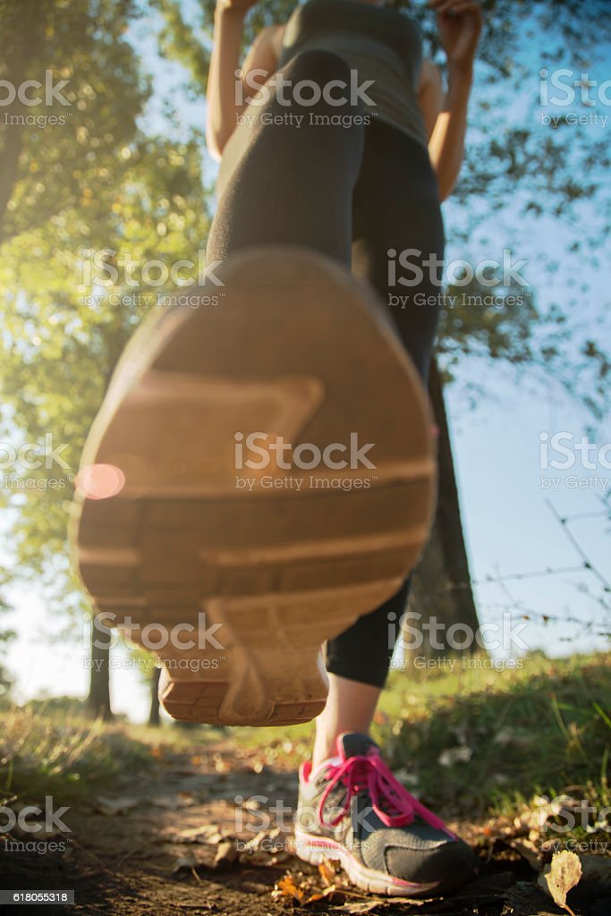 Energetic step stock photo