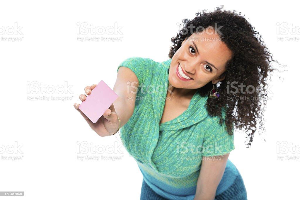 Energetic Young Beautiful Hispanic Woman Holding Blank Card royalty-free stock photo