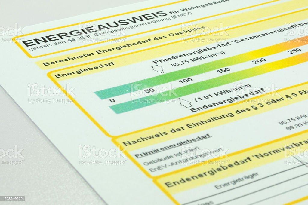 Energieausweis für ein Gebäude stock photo