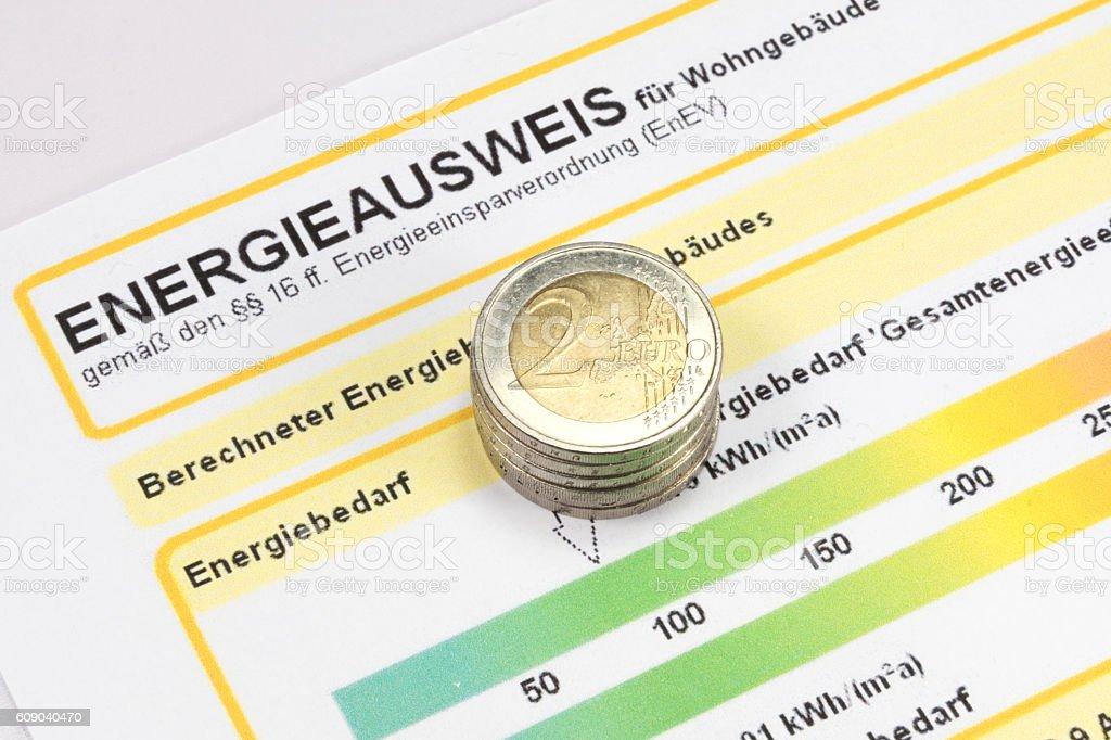 Energieausweis und Geld stock photo