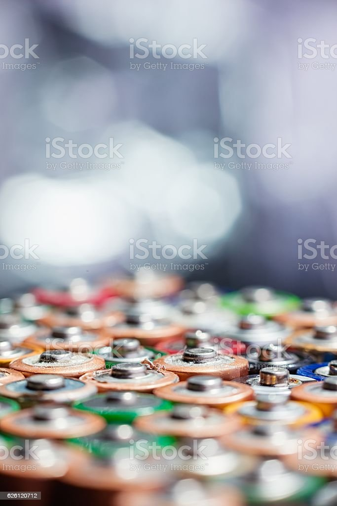 Energy abstract background of colorful batteries. stock photo