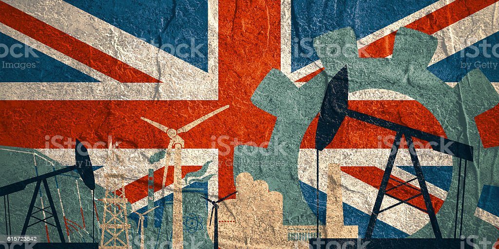 Energy and Power icons set with Britain flag vector art illustration