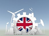 Energy and Power icons set with Britain flag