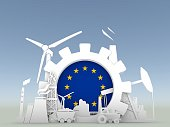 Energy and Power icons set with Europe Union flag