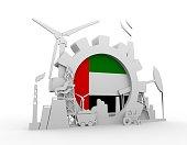 Energy and Power icons set with United Arab Emirates flag