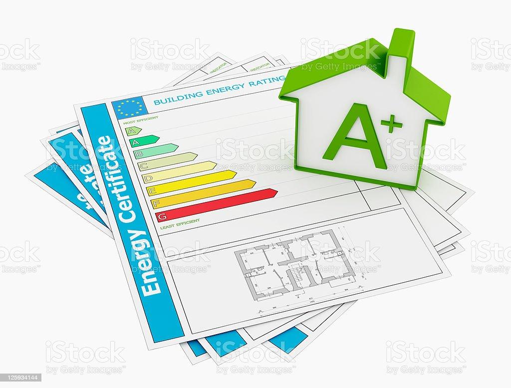 Energy certificate stock photo