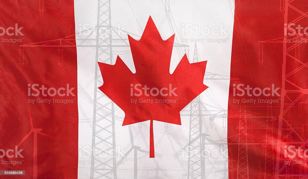Energy Concept Canada Flag with power pole stock photo