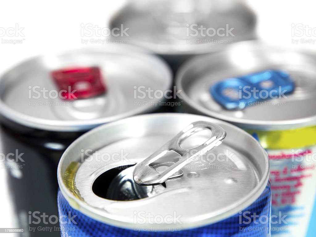 Energy drink cans stock photo