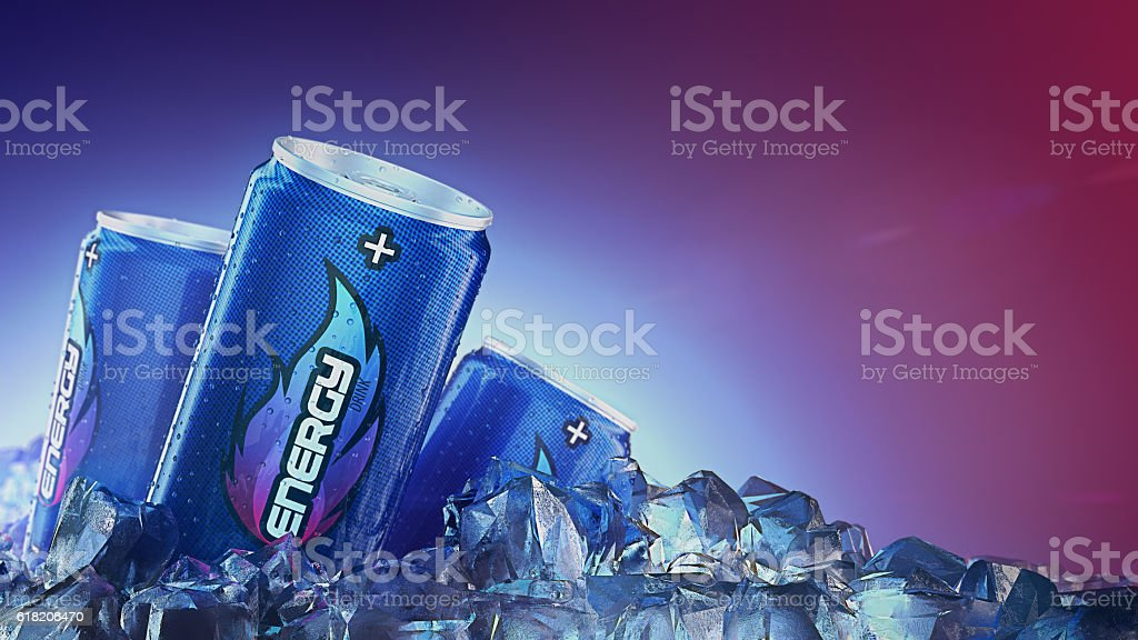 Energy drink pass through Ice Cubes. 3d rendering stock photo