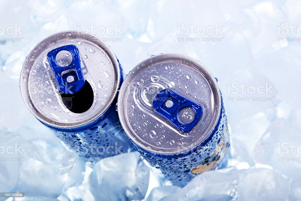 Energy drink top view stock photo