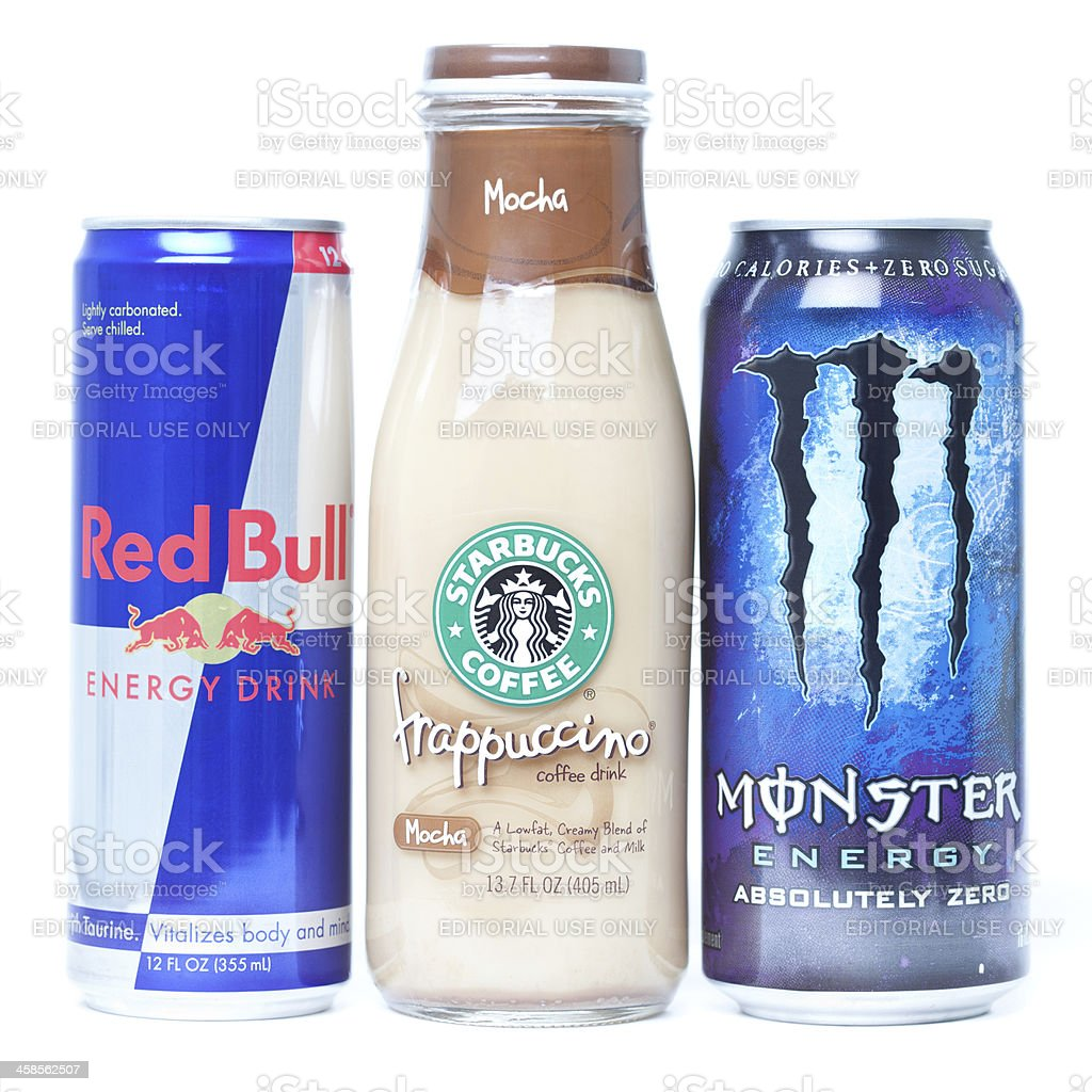 Energy Drinks Lined Up stock photo