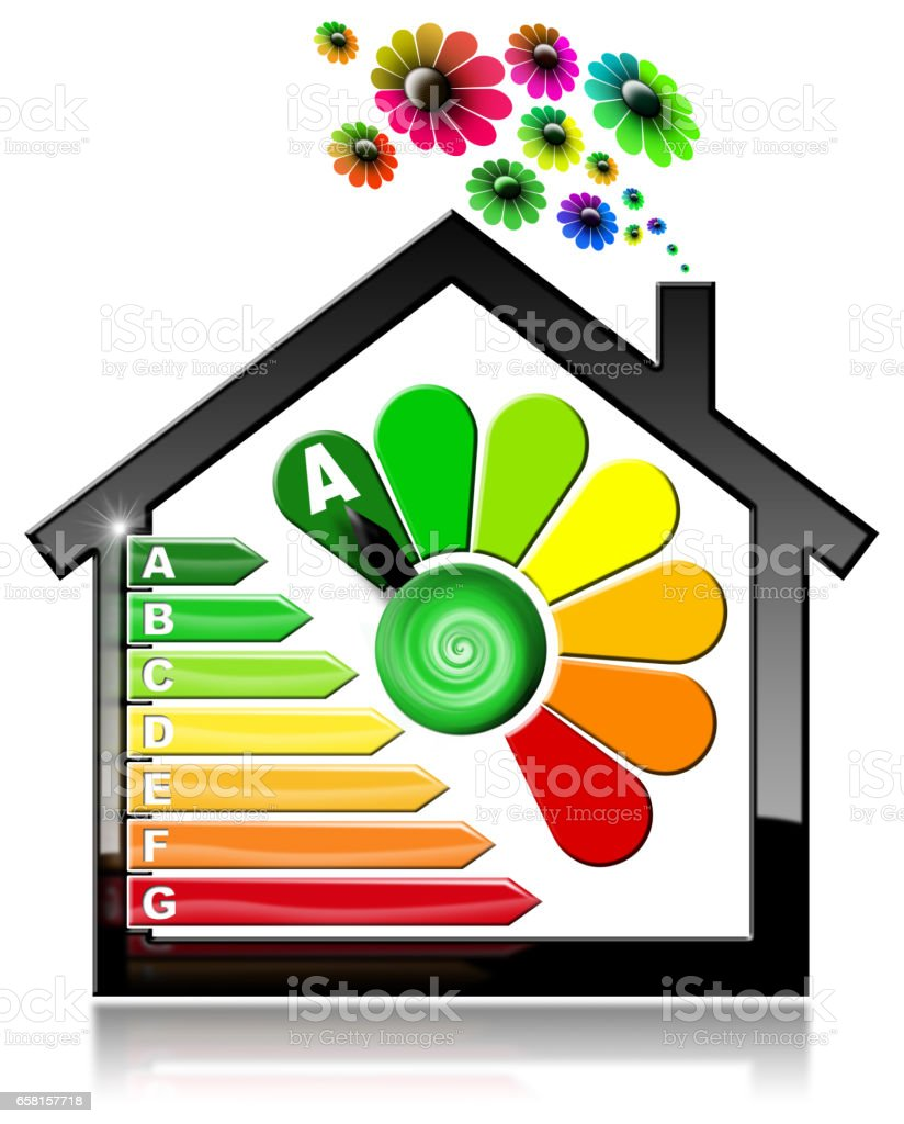 Energy Efficiency A - Symbol in the Shape of House stock photo
