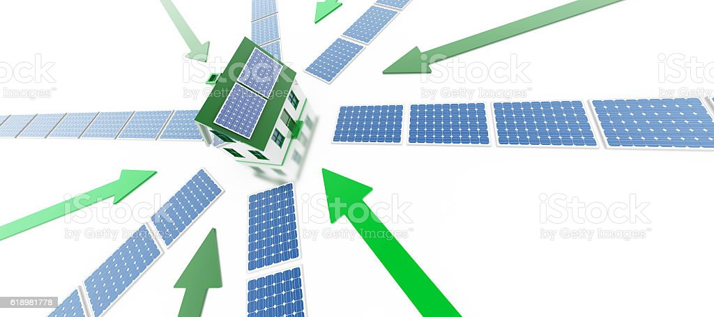 Energy Efficiency and solar power stock photo