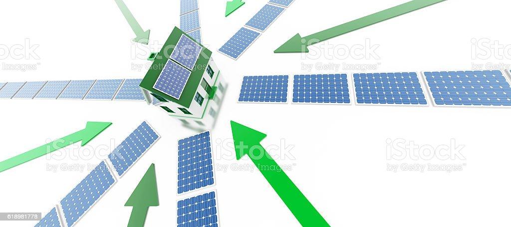 Energy Efficiency and solar power stock photo