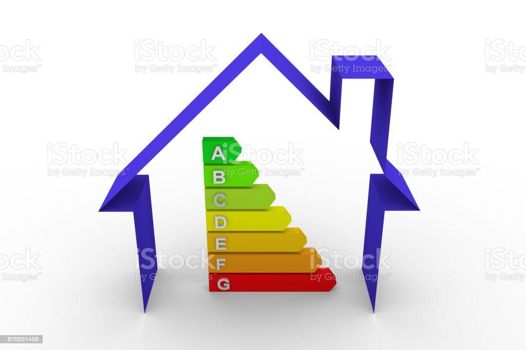 energy efficiency chart house stock photo