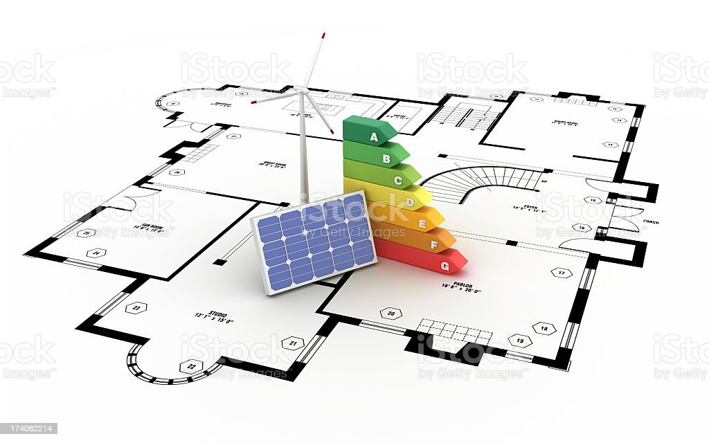 Energy Efficiency Diagram on Arquitectural Drawing stock photo