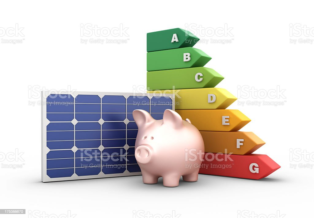 Energy Efficiency Diagram with Solar Panel and Piggy Bank stock photo