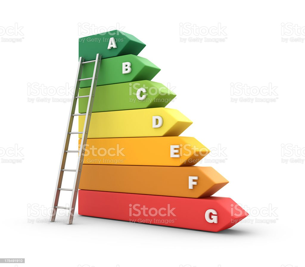 Energy Efficiency Diagram with Stair stock photo