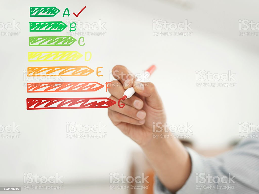 Energy Efficiency graph stock photo