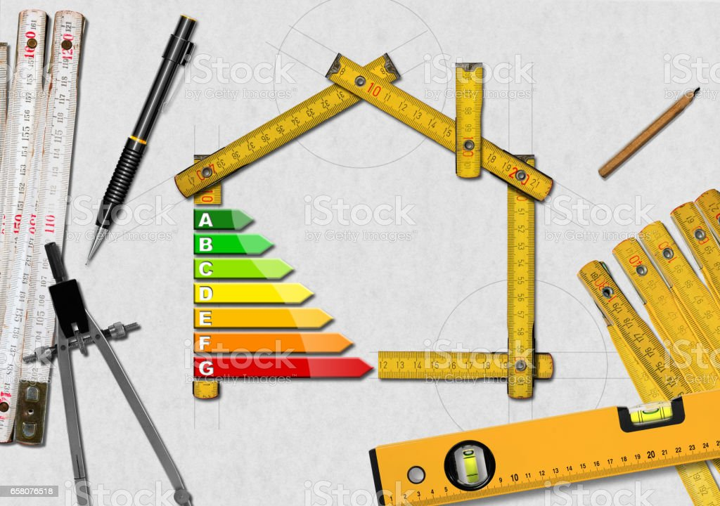 Energy Efficiency - Project of Ecological House stock photo