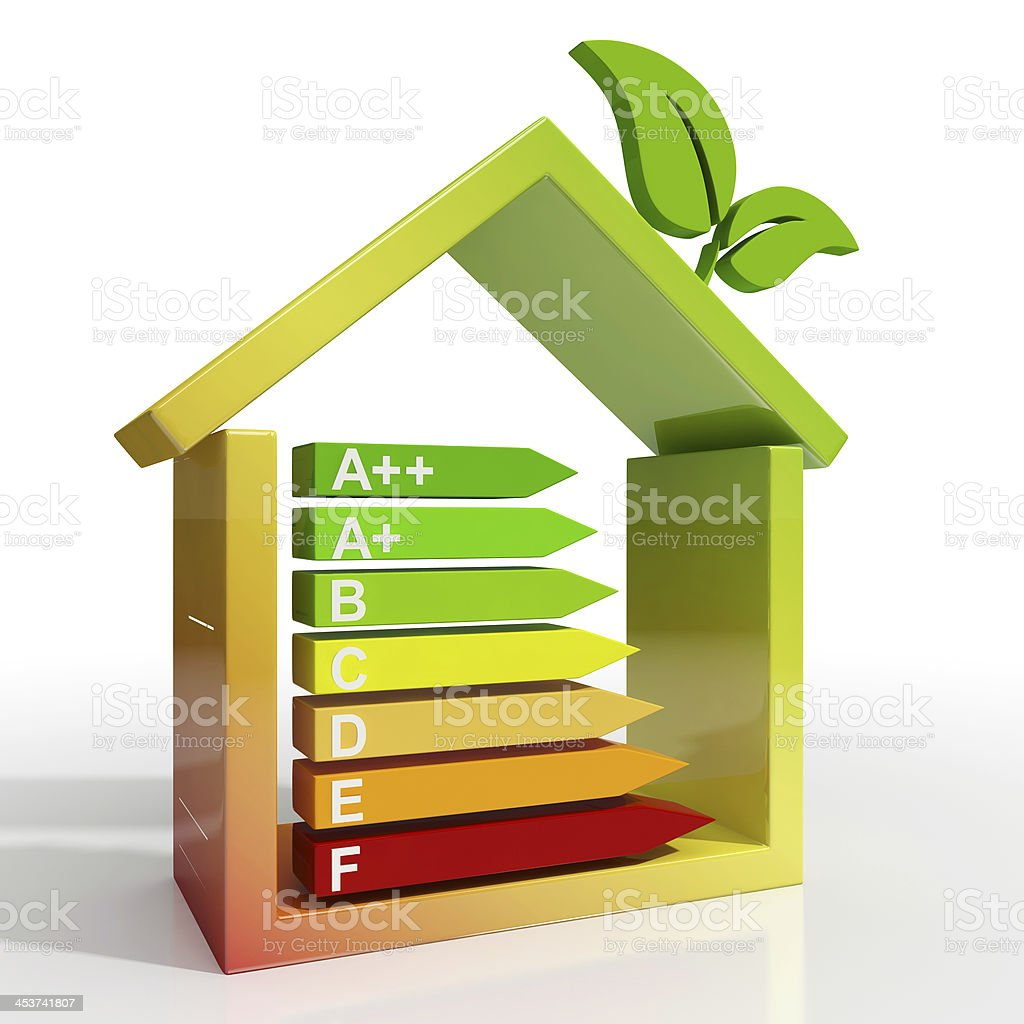 Energy Efficiency Rating Icon Showing Green House stock photo