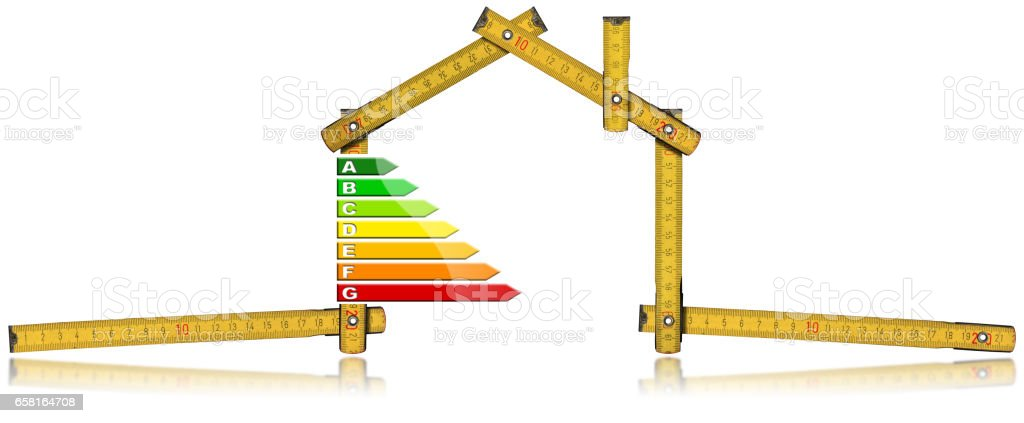Energy Efficiency - Ruler in the Shape of House stock photo