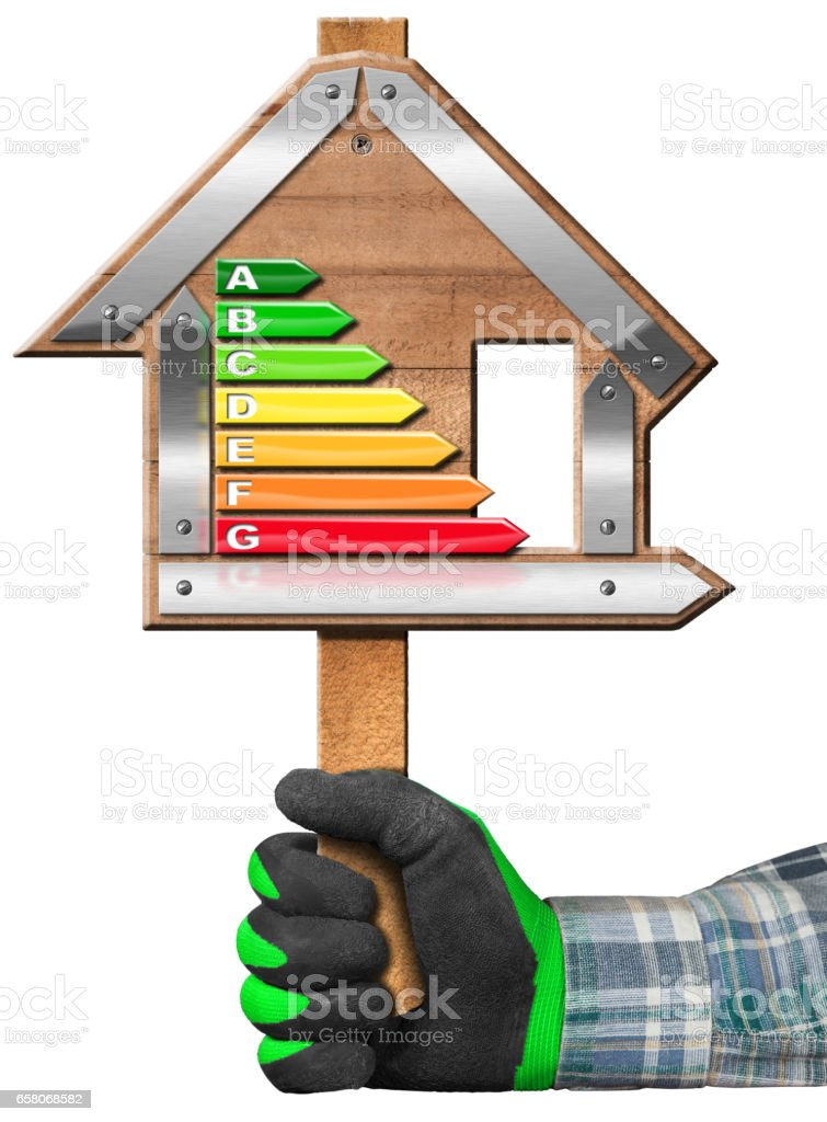 Energy Efficiency - Sign in the Shape of House stock photo