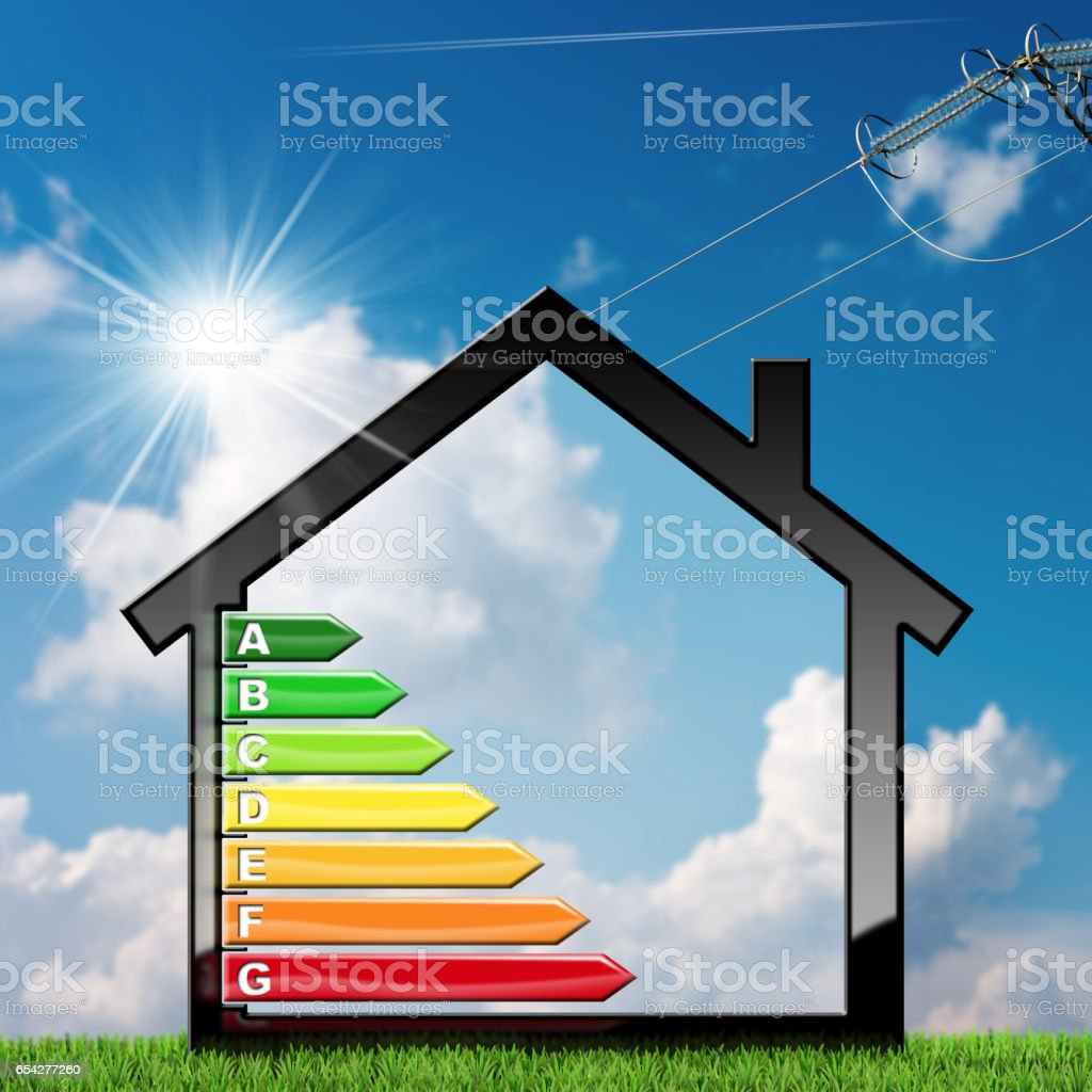 Energy Efficiency - Symbol in the Shape of House stock photo