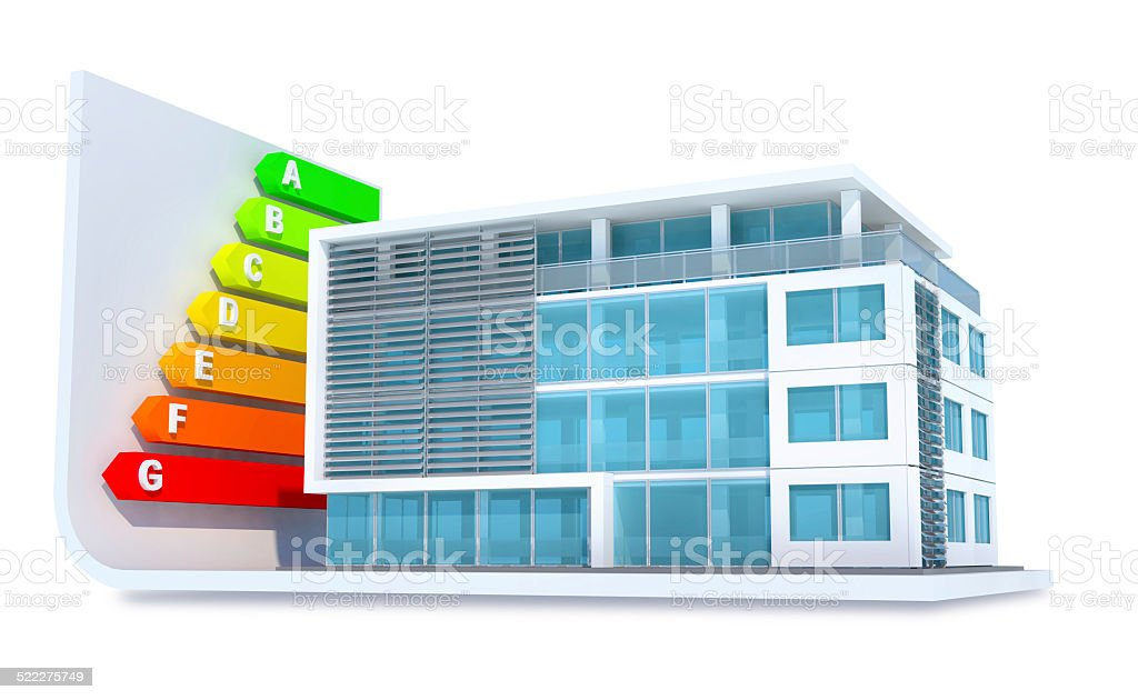 Energy efficient building with colored class bars stock photo