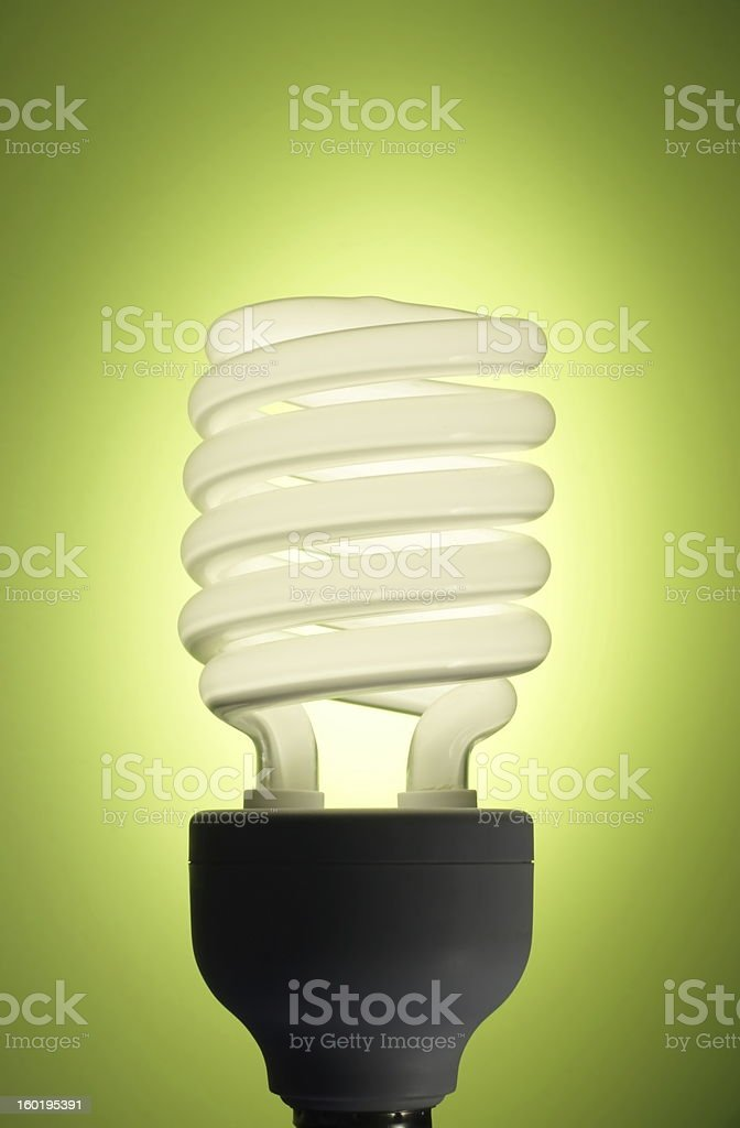 Energy efficient fluorescent bulb on a lime green backdrop stock photo