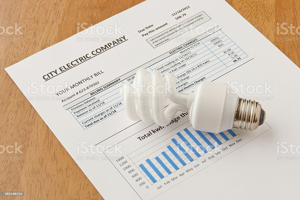 Energy efficient light bulb on top of electric bill stock photo