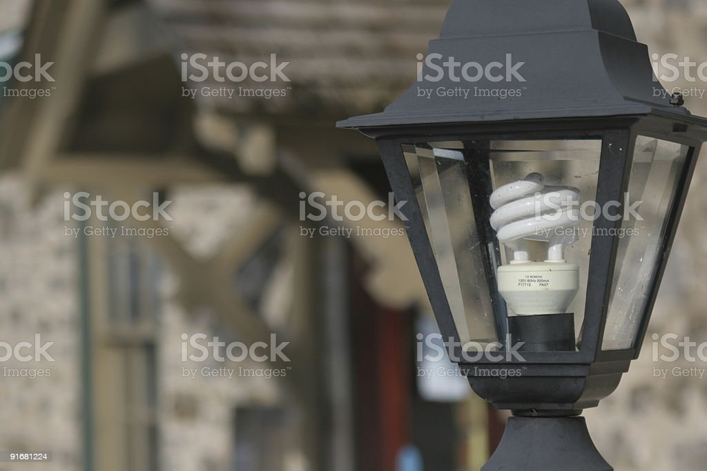 Energy Efficient Lightbulb in Streetlamp royalty-free stock photo
