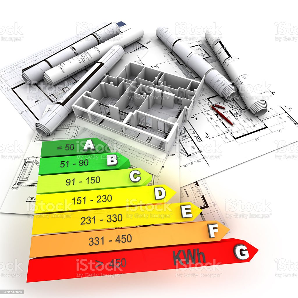Energy efficient rated construction stock photo
