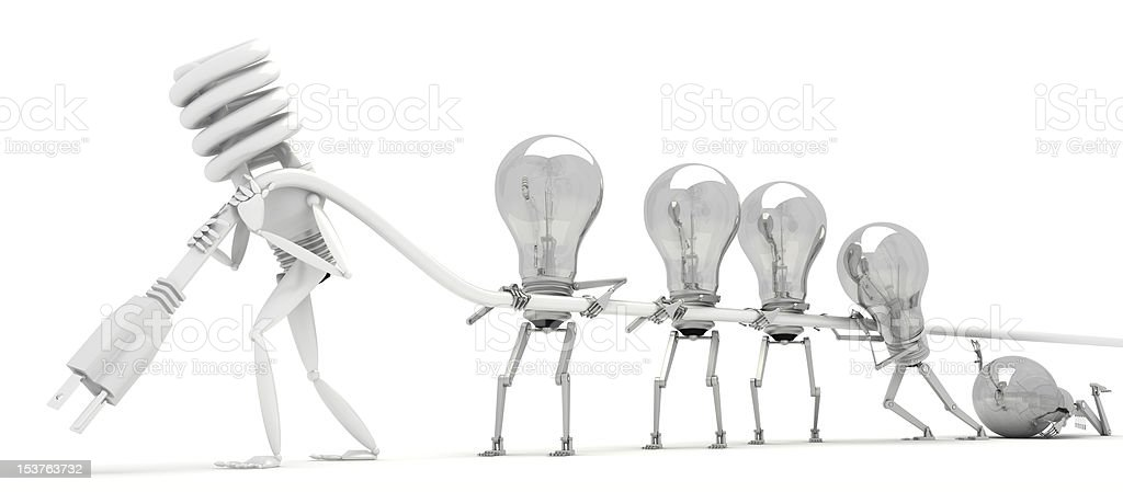 Energy Efficient vs Conventional Bulb royalty-free stock photo