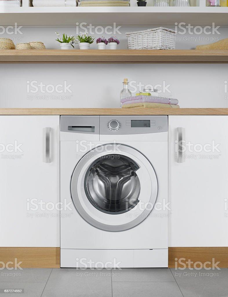 Energy efficient washing machine stock photo