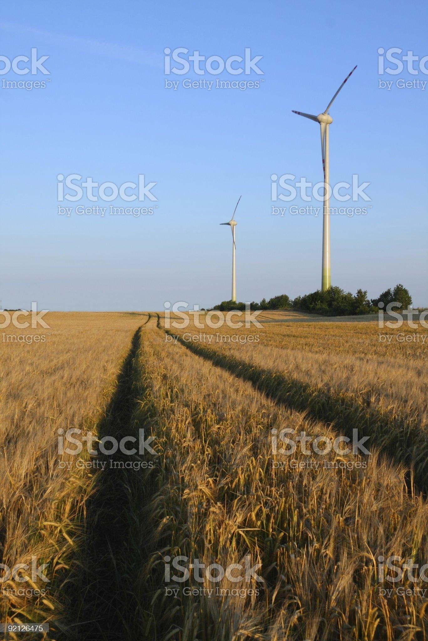 Energy generating wind turbines on wheat field royalty-free stock photo