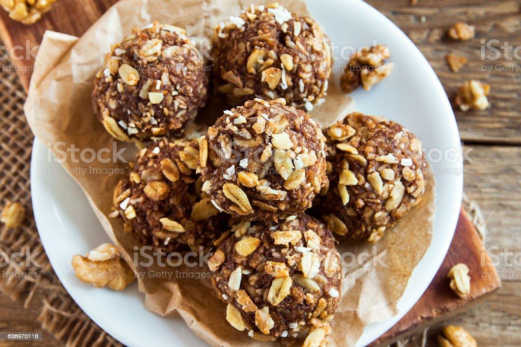 energy granola bites stock photo