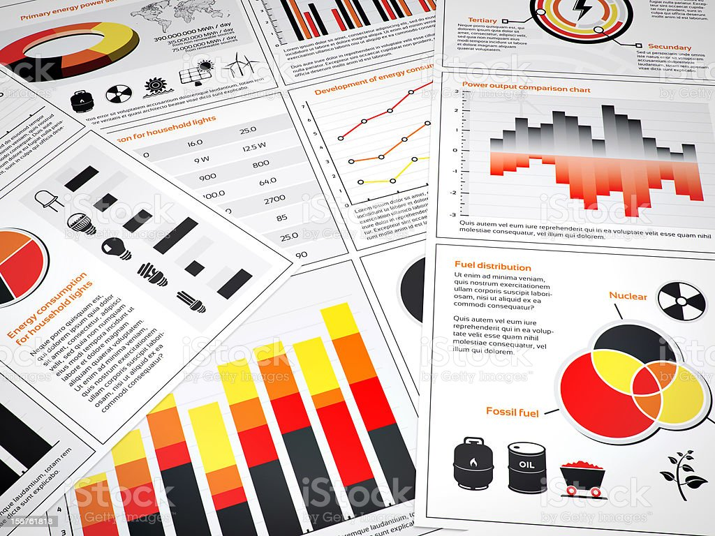 Energy graphs and charts stock photo
