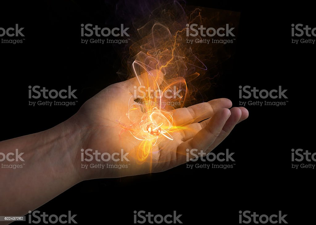 energy in the hand stock photo