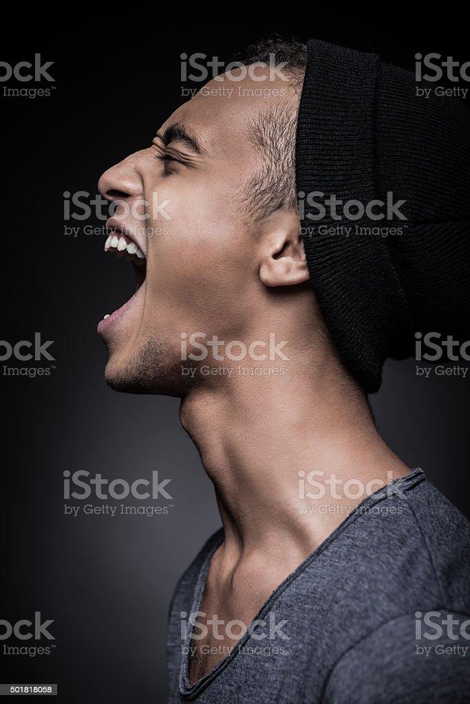 Energy inside him. stock photo