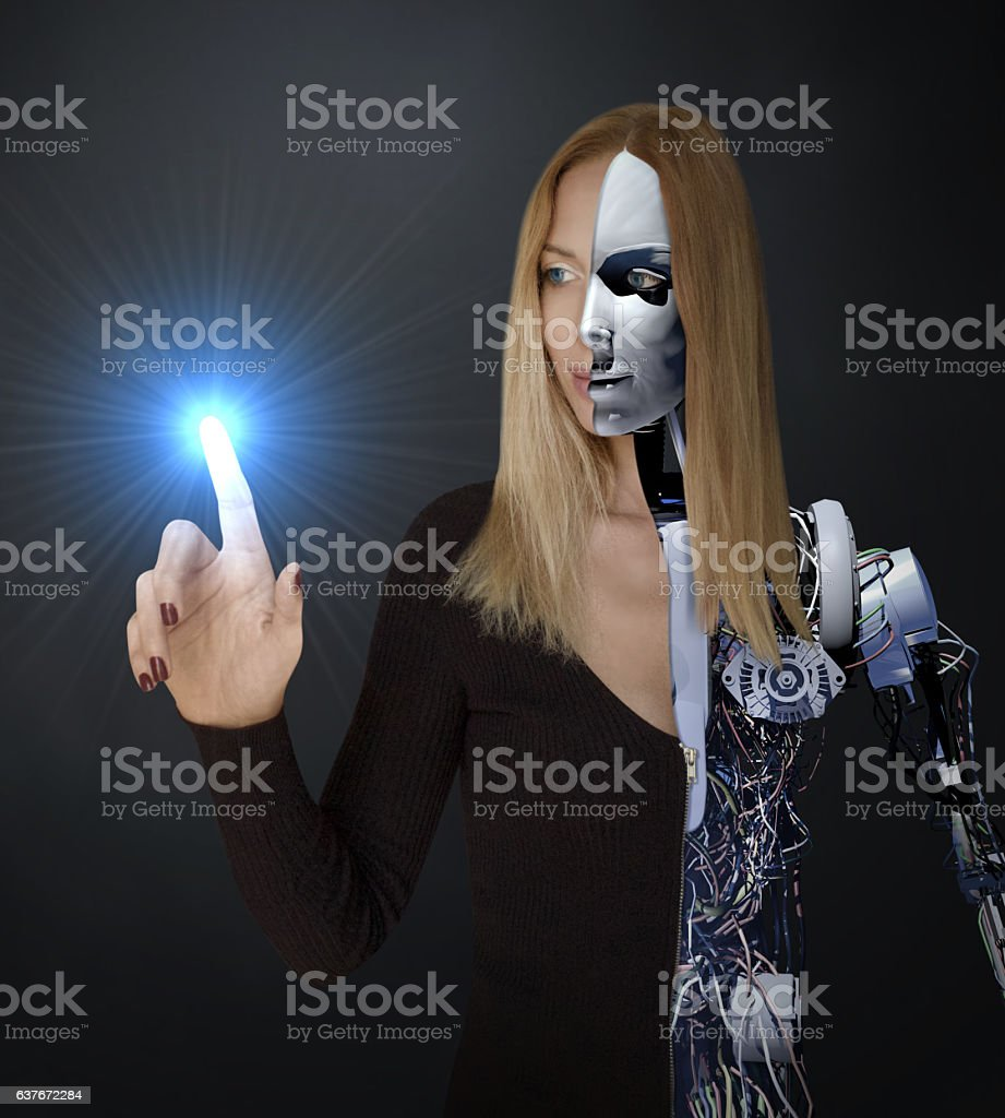 Energy of The Cyborg Woman stock photo