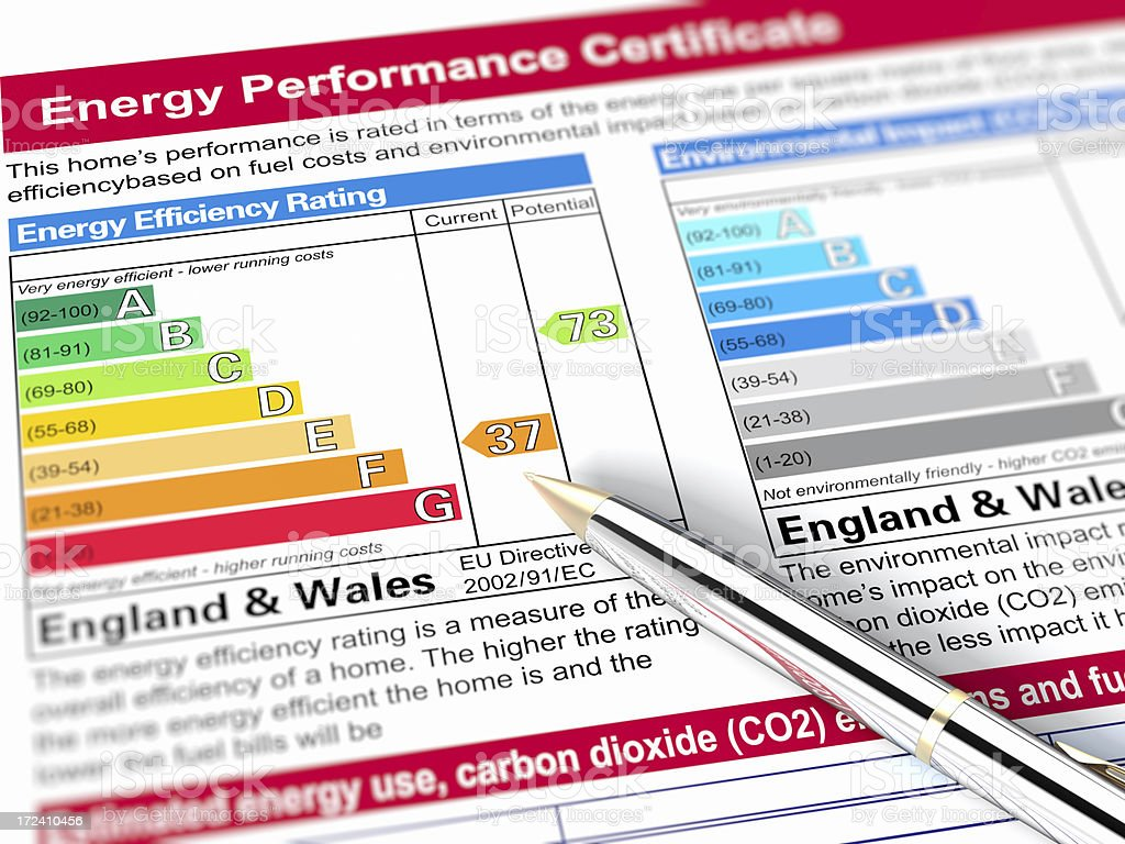Energy performance graph for England and Wales stock photo