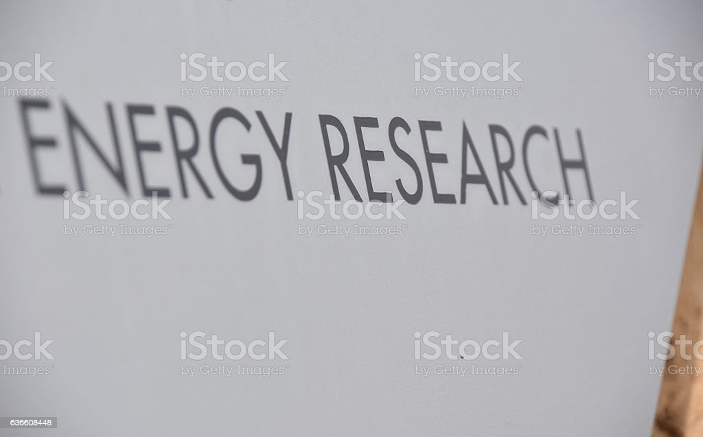 energy research sign stock photo