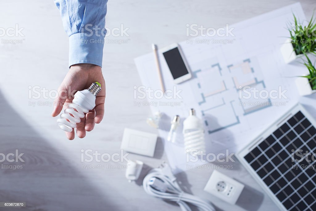 Energy saving CFL lamps stock photo
