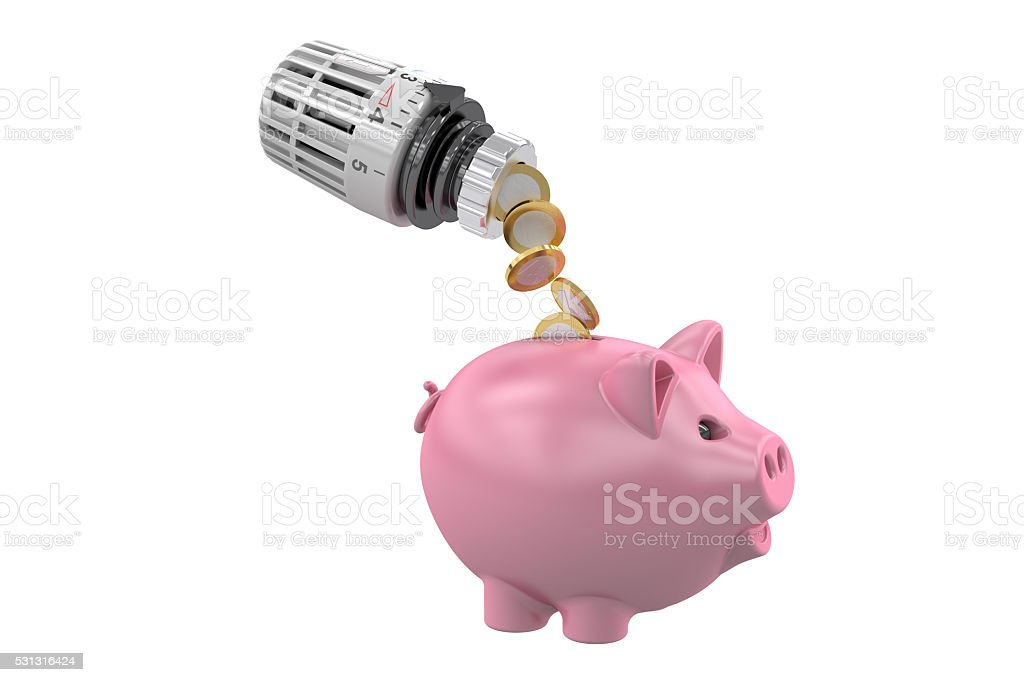 Energy saving concept, piggy bank with radiator thermostatic val stock photo
