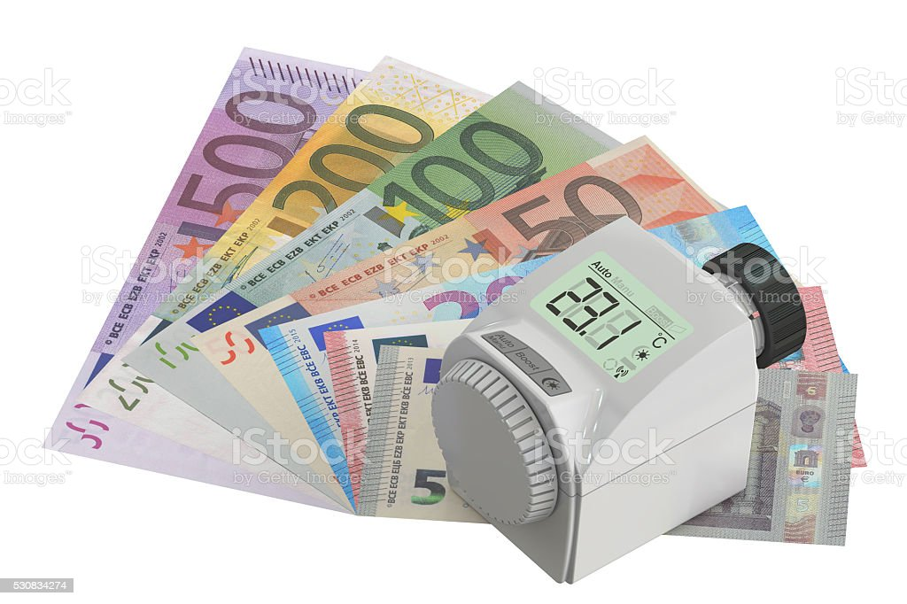 Energy saving concept with modern thermostat and money,  3D rend stock photo