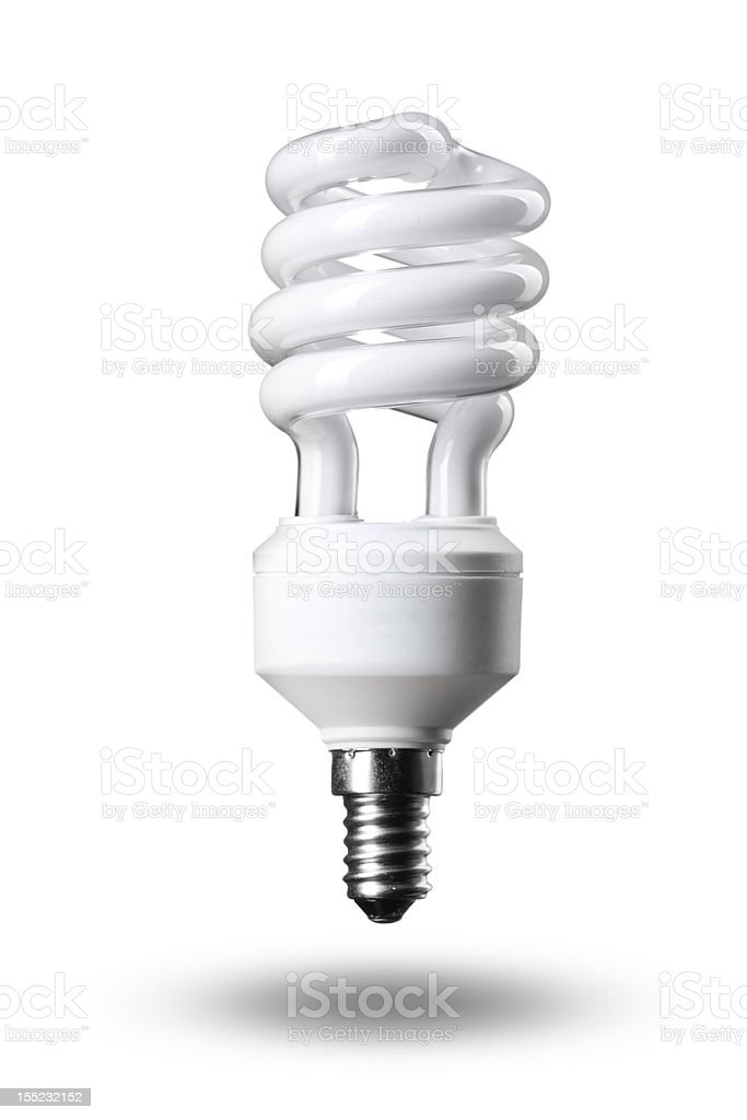 Energy saving fluorescent light bulb on white royalty-free stock photo