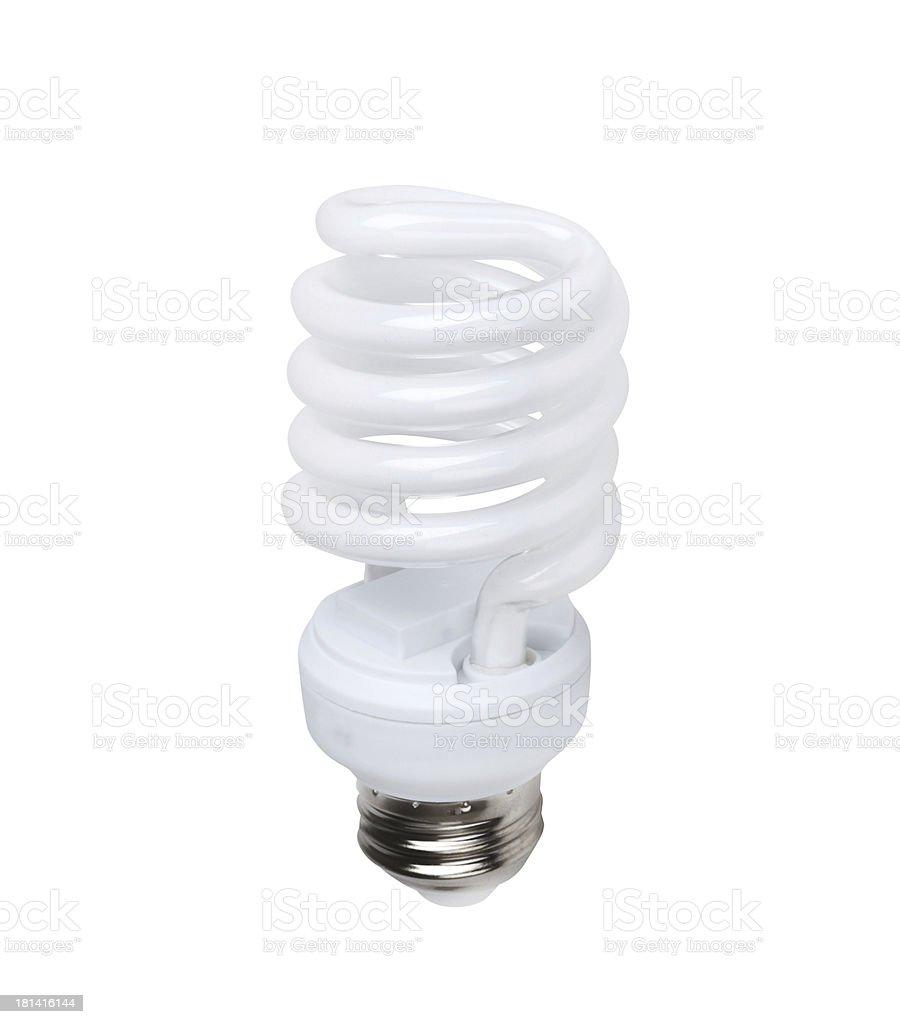 Energy saving fluorescent light bulb on white stock photo