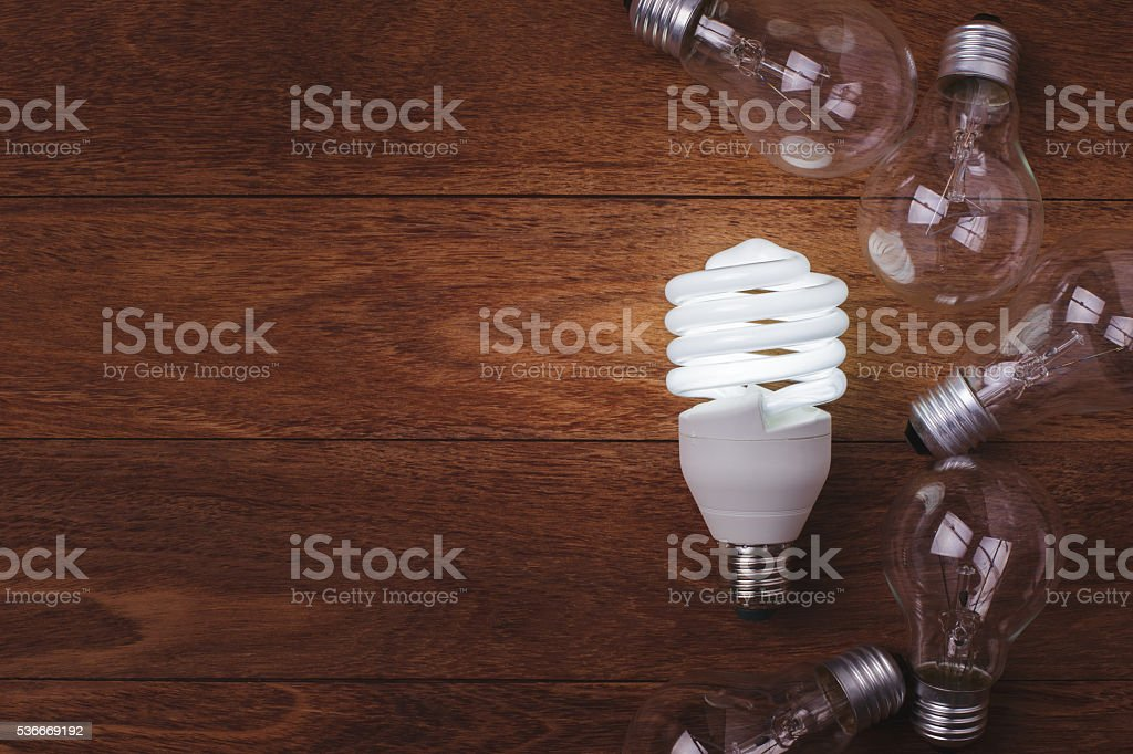 Energy saving lamp and incandescent lamp. stock photo