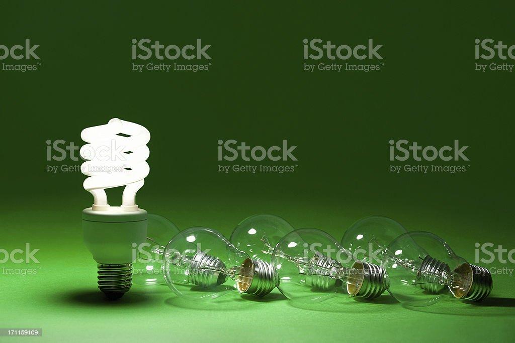 Energy Saving Lamp And Light Bulbs stock photo